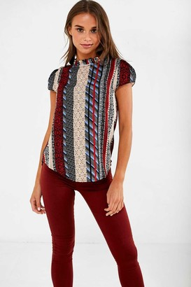 Iclothing iClothing Suzy Frill Neck Top in Red Patchwork Print