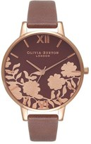 Olivia Burton Lace Detail Leather Strap Watch, 38mm