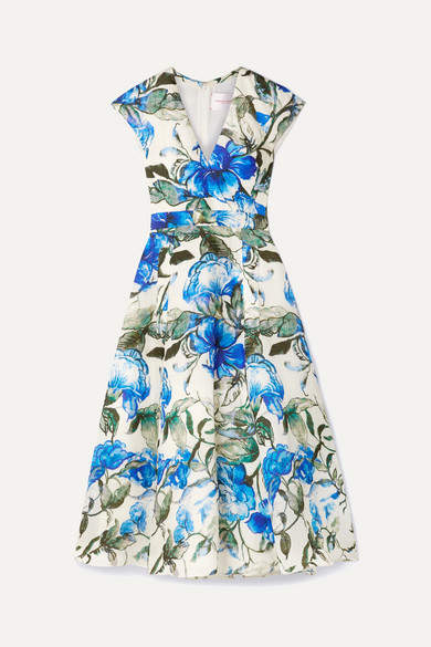 Carolina Herrera Floral-print Silk Crepe De Chine Midi Dress - Blue
