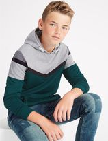 Marks and Spencer Cotton Rich Colour Block Hooded Sweatshirt (3-14 Years)