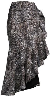 Chiara Boni Josephine Animal-Print Flounce Skirt