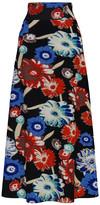 Bella Flore Women's Maxi Skirts BLACK - Black & Blue Floral High Waist A-Line Maxi Skirt - Women & Plus