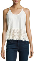 Romeo & Juliet Couture Lace Pleated-Hem Racerback Tank, Ivory