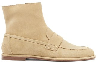 Loewe Suede Loafer Boots - Beige