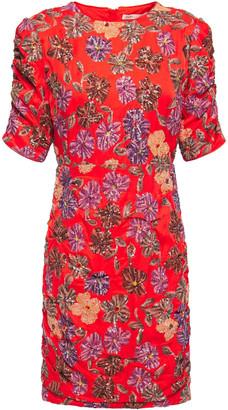 Maje Sequin-embellished Satin Mini Dress