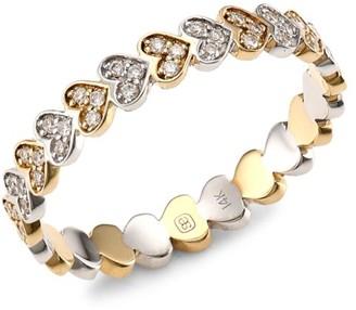 Sydney Evan 14K Yellow Gold, White Gold & Diamond Tiny Eternity Heart Ring
