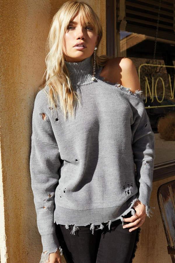 Elan International Grey Distressed Sweater
