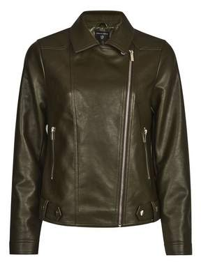 Dorothy Perkins Womens Olive Faux Leather Biker Jacket