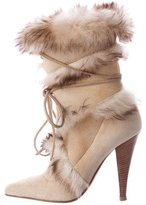 Roberto Cavalli Fur-Trimmed Pointed-Toe Ankle Boots