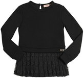 N°21 Cotton Sweatshirt W/ Pleated Tulle Hem