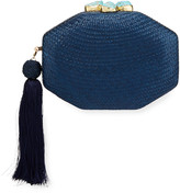 Rafe Sofia Woven Octagon Clutch Bag, Blue