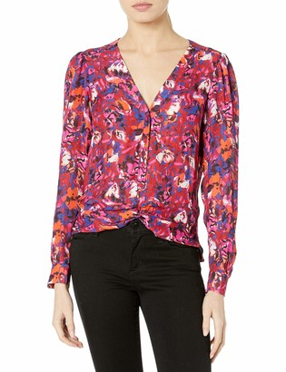 Parker Women's Long Sleeve Blouse with Button Front Details and Twisting at The Waist
