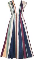 Paule Ka Striped Paneled Jacquard Deep V-neck A-line Dress