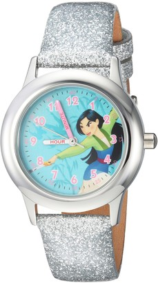 Disney Girls Mulan Stainless Steel Analog-Quartz Watch with Leather-Synthetic Strap