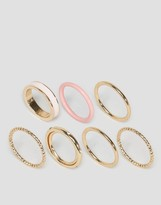 Asos Limited Edition Pack of 7 Enamel & Stone Stacked Rings