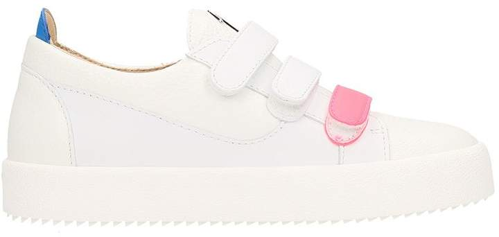 Giuseppe Zanotti White Calfskin Leather Low-top Sneaker With Three Straps