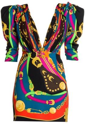 Versace Rodeo Night Puff-Sleeve Cady Mini Dress