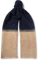 Brunello Cucinelli - Fringed Bouclé And Houndstooth Cashmere-blend Scarf