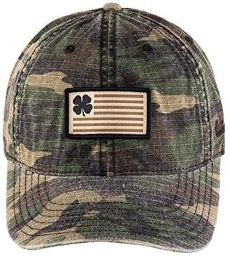 Black Clover Veteran Adjustable Hat (Flag Patch Clover/Camo) Baseball Caps