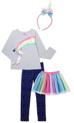 Minnie Mouse Girls Exclusive Fashion Top, Tutu Skirt, Legging and Headpiece, 4-Piece Outfit Set, Sizes 4-16