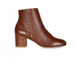 Croco Craie - Cognac Leather Style April Boots - 37