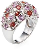 Rina Limor Fine Jewelry Women's Sterling Silver, Sapphire & 0.10 Total Ct. Diamond Lattice Dome Ring