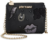 Betsey Johnson Mini Chain Strap Crossbody with Patch Appliqués
