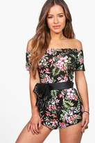 Boohoo Petite Lily Off The Shoulder Tropical Print Playsuit multi