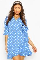 boohoo Woven Spot Print Tie Side Tea Dress