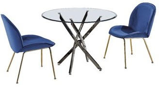 Mercer41 Stepanie Dining Table Base Color: Black Gold