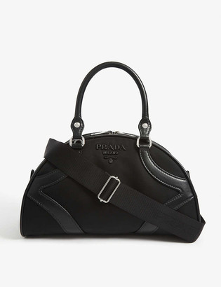 Prada Logo leather and canvas bowling bag