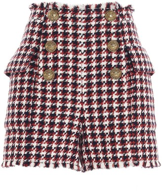 Balmain Button Detail Tweed Shorts