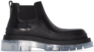 Bottega Veneta Transparent-Sole Chunky Ankle Boots