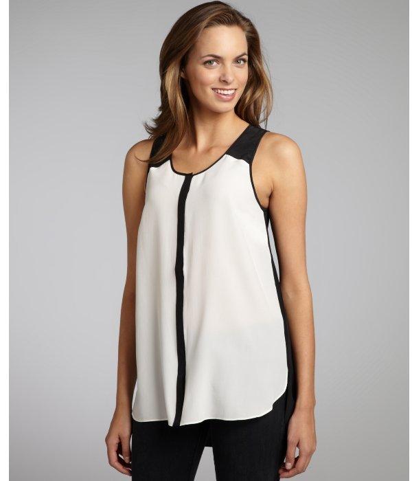 Wyatt ivory and black silk colorblock sleeveless blouse