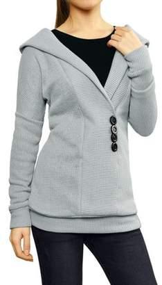 Unique Bargains Women's Shawl Collar Buttons Decor Pullover Tunic Casual Knit Sweater