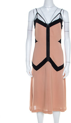 Philosophy di Alberta Ferretti Philosophy Bicolor Paneled Noodle Strap Flared Dress S