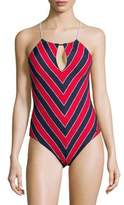 MICHAEL Michael Kors One-Piece Chevron Keyhole Front Swimsuit