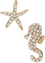 Carole Crystal & Goldtone Starfish & Seahorse Earrings