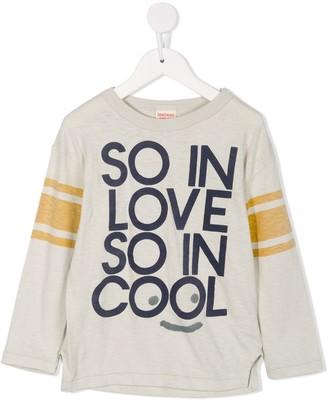 Denim Dungaree logo print panelled T-shirt