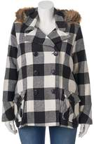 Urban Republic Juniors' Plus Size Wool Blend Buffalo Check Peacoat