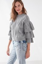 Urban Outfitters Cable Knit Ruffle-Sleeve Sweater