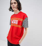 Vans T-Shirt With Checkerboard Sleeve In Red Exclusive To ASOS