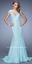 La Femme Mermaid Lace Open Back Prom Dress