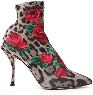 Dolce & Gabbana Leopard Floral Ankle Boots