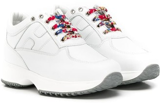 Hogan contrast lace-up sneakers
