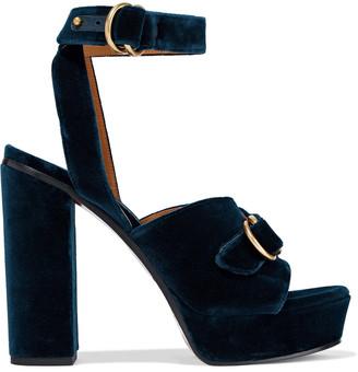 Chloé Kingsley Buckled Velvet Platform Sandals
