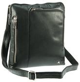 Visconti Black Three-Pocket Leather Crossbody Bag