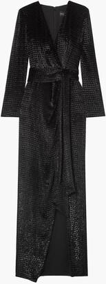 Brandon Maxwell Wrap-effect Metallic Fil Coupe Velvet Gown