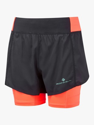 Ronhill Tech Ultra Twin Running Shorts, Black/Hot Coral