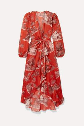 Johanna Ortiz Cuando El Rio Suena Printed Cotton-voile Wrap Dress - Tomato red